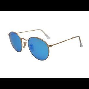blue round mirror ray-ban sunglasses